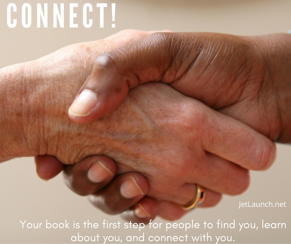 Two people shaking hands, showing your book is the first point of connection with your customers.