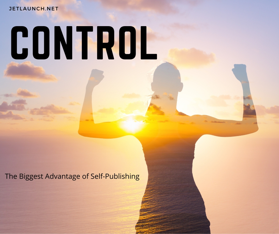 Woman flexing her muscles, showing control is one of the biggest advantages to self-publishing.