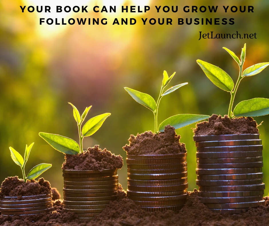 Small plants growing with money under them, showing that a book can help grow your business